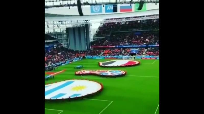 La inaguración del partido entre Uruguay y Egipto
