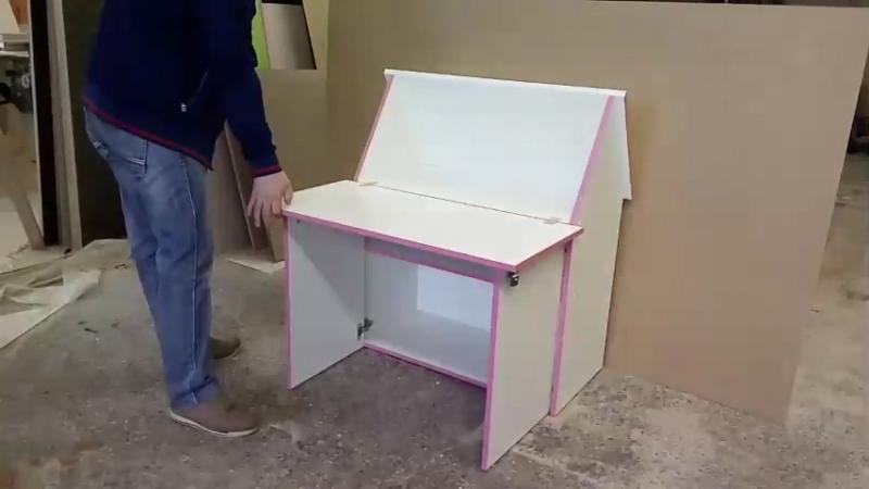 Детский стол парта трансформер Зю-Зю. Цвет белый, кромка розовая. Полки-кидс. ру