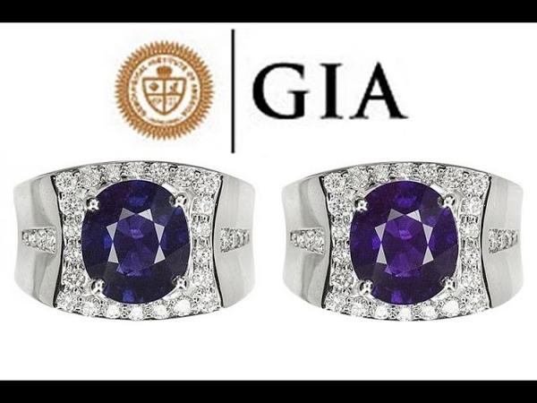 GIA Men's NO HEAT Natural VS1 Color Change Sapphire Diamond 18k Gold Men's Ring - C622