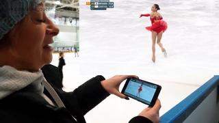 Наталья Антипина смотрит выступление Алины Загитовой