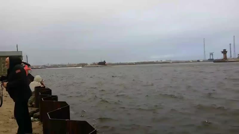Выход атомной подводной лодки Казань проекта 885М Ясень М на заводские ходовые испытания