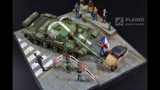 T-62 Velorex 21 August 1968 - diorama 1/72 - Praha 21 srpen 1968