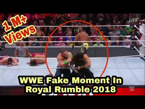 Wrestling Fake Moment In WWE Royal Rumble 2018.John Cena ,Roman Reigns, Rey Mysterio