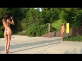 EuroNudes.com Dominika C and her photographer nude in a public park