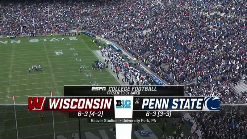 NCAAF 2018 Week 11 Wisconsin Badgers 20 Penn State Nittany Lions 1H EN