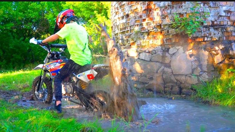 Школьник на Питбайке застрял в болотеTest Drive The Cross Bike.Quad bike or Pitbike