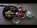 Яичница с колбаской на порционной сковороде