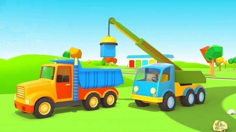 La pista para vehículos de servicio. Dibujos animados de coches.