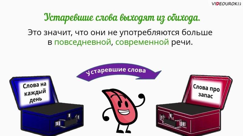 Видеоурок по русскому языку Устаревшие слова