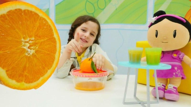 Bebek oyunları. Şilaya gerçek portakal suyu sıkıyoruz