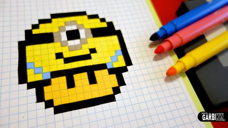 Handmade Pixel Art - How To Draw a Minion Mushroom pixelart