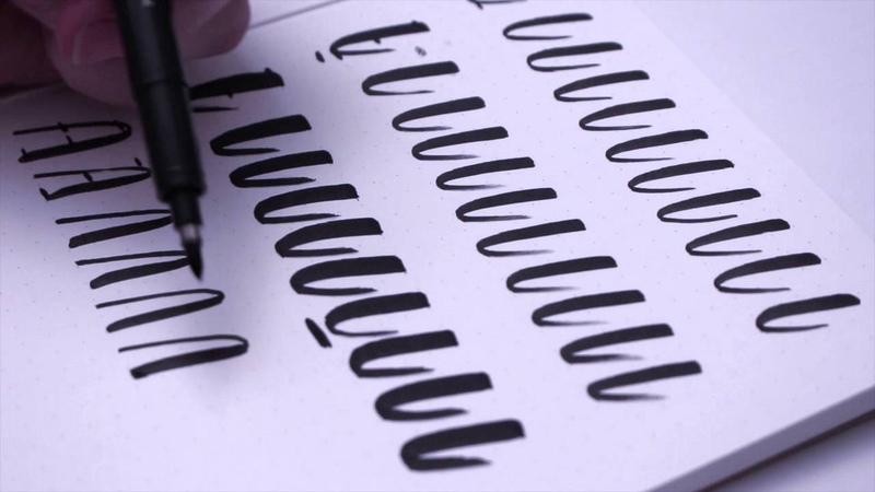 Felt Tip Brush Calligraphy Drills