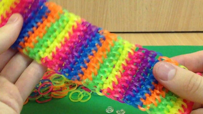 Браслет Радужные Капли из резинок воздушными петлями на крючке Rainbow Loom