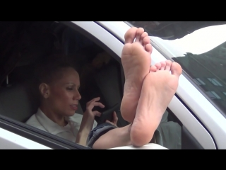 Lovely soles amazing candid feet out of car window