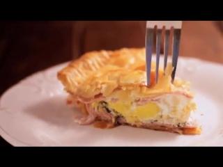 Пирог с ветчиной и яйцом