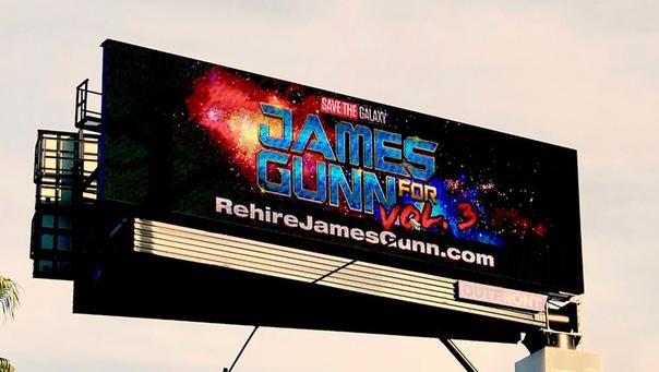 Поклонники Джеймса Ганна установили билборд с призывом вернуть уволенного режиссера «Стражей Галактики»