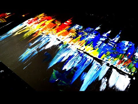 Painting abstract night time cityscape using only pallet knife