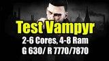 Тест Vampyr на слабом ПК ( 2-6 Cores, 4-8 Ram, GeF 630 Rad 77707870)