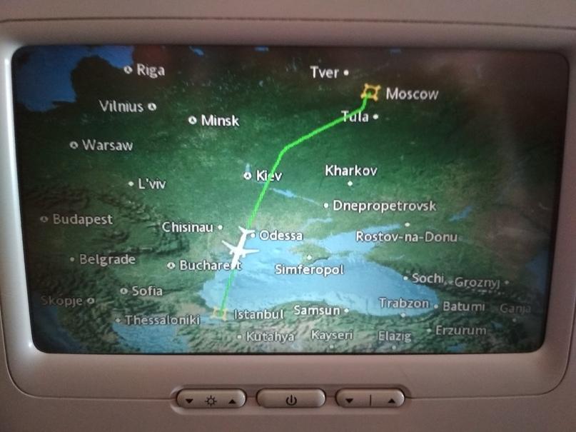 Карта полёта рейса Москва - Стамбул в облёт ДНР