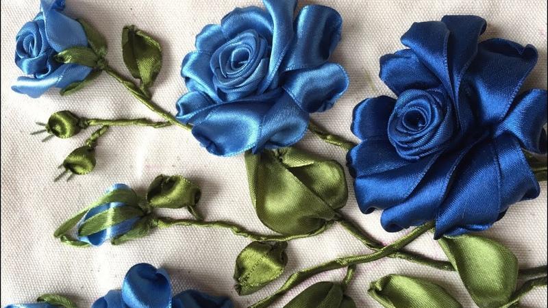 Hướng dẫn thêu ruy băng hoa hồng mẫu 7 [Ribbon Embroidery]
