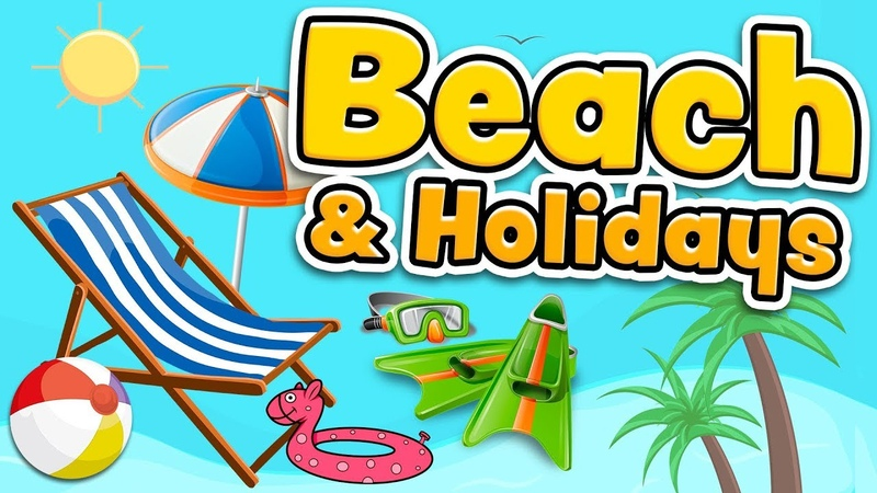 Beach and summer holidays vocabulary in English for kids