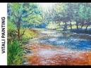 Пишем акрилом солнечную реку Vitali Рainting