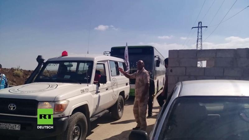Syrien Erste Gruppe von Militanten und Zivilisten aus der Provinz Quneitra evakuiert