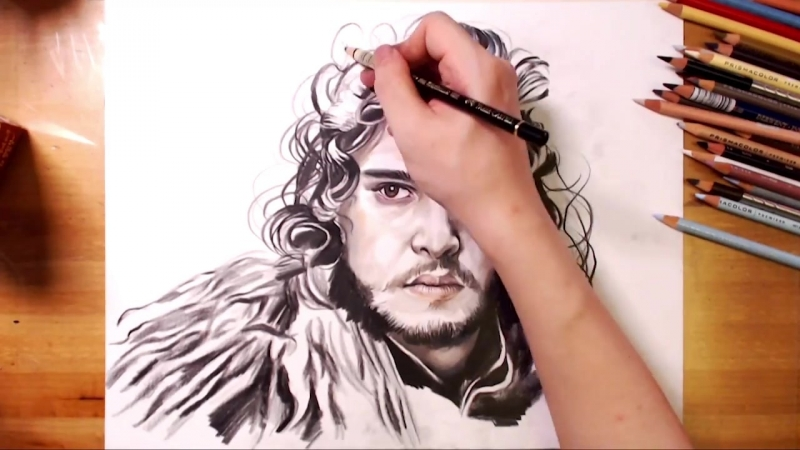 Drawing Jon Snow(Kit Harington), Game of Thrones - drawholic.mp4