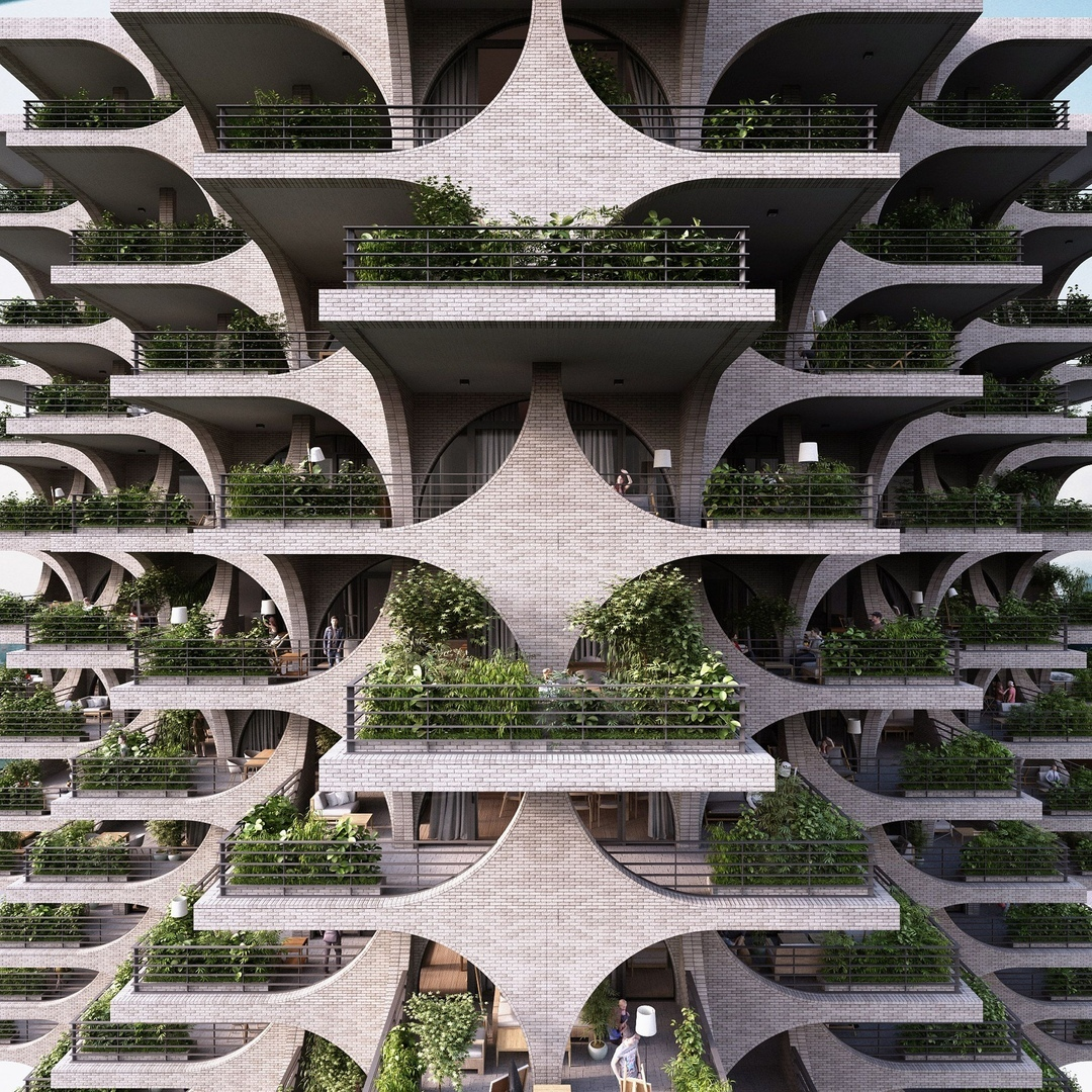 Incredible Building with Cascading Terraces and Arches