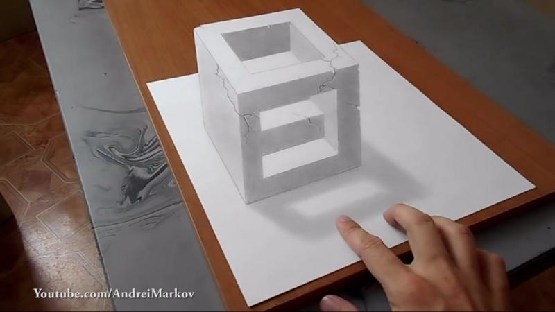 Как нарисовать простой 3д рисунок карандашом каменный куб