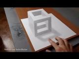 Как нарисовать простой 3д рисунок карандашом - каменный куб
