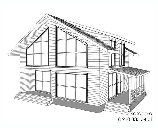 Одноэтажный дом с мансардным этажом 5023