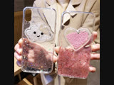 Drifting Balls 3D Clouds Love Heart Cover Clear Soft TPU Carcasa Glitter Funda Telefon Kilifi
