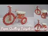 3d quilling tricycle with basket quilled cycle diy quilling cup basket