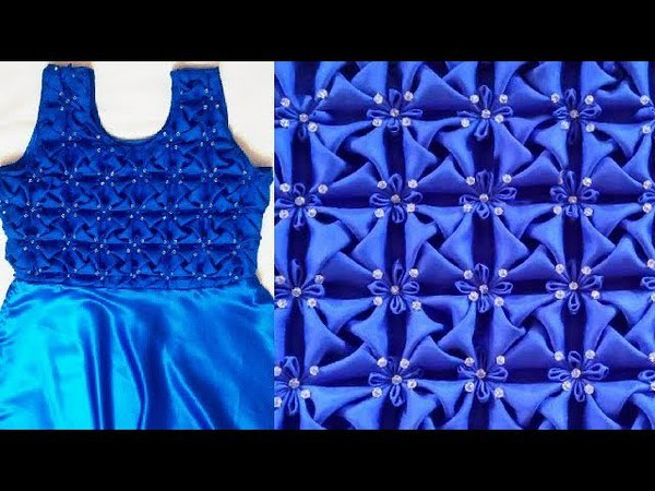 Whirl Pattern Frock Smocking Origami Dress Flower Design by Step method