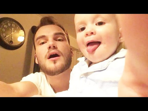 Daddy Teachs Baby Beatbox - Adorable Baby At Home Alone With Father