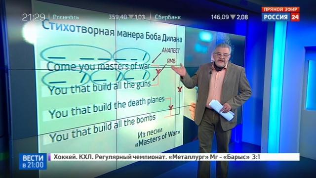 Новости на Россия 24 • Литературный феномен Боба Дилана: певец получил Нобель за резонанс
