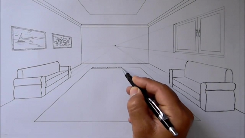 Oda Çizimi,tek nokta perspektifli iç mekan çizimi, How to draw a room with one point perspective