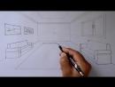 Oda Çizimi,tek nokta perspektifli iç mekan çizimi, How to draw a room with one point perspective