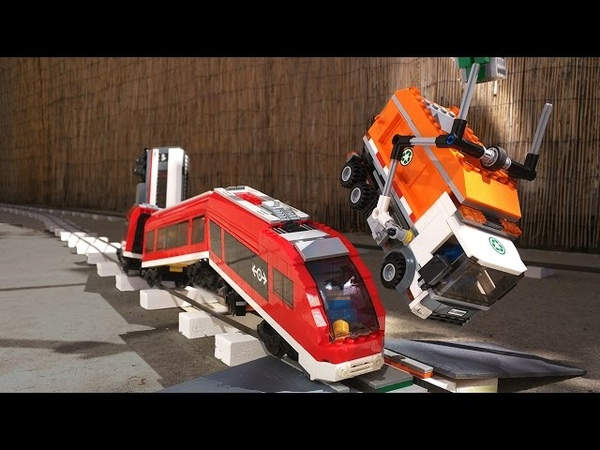 High speed train hits Lego Garbage truck