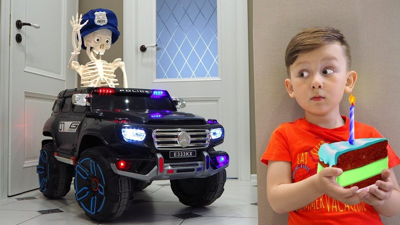 Funny BABY and Skeleton Unboxing Police Car Senya Ride On Power Wheel Police Car Skeleton's birthday