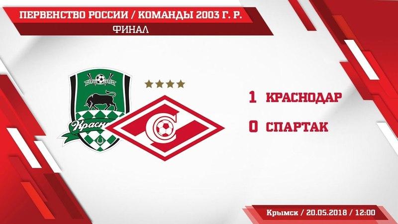 Обзор матча Краснодар Спартак команды 2003 г р и церемония награждения