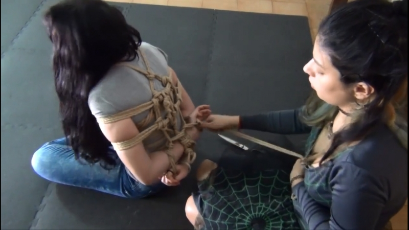 Hogtied in Tight Rope Bondage