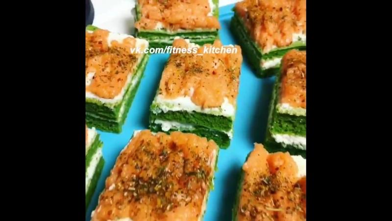 Закусочные пирожные со шпинатом, творожным сыром и красной рыбой. » Freewka.com - Смотреть онлайн в хорощем качестве