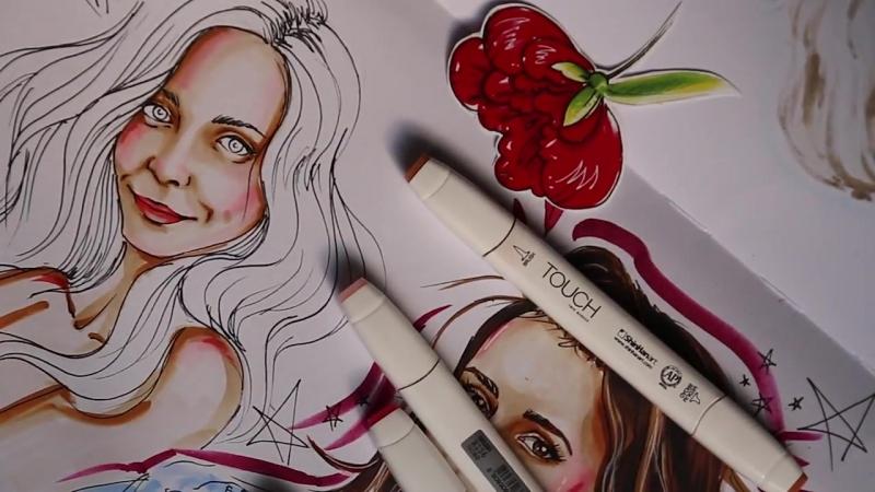 Портрет девушки маркерами. Автор: преподаватель курса Скетчинг, Екатерина Соколова