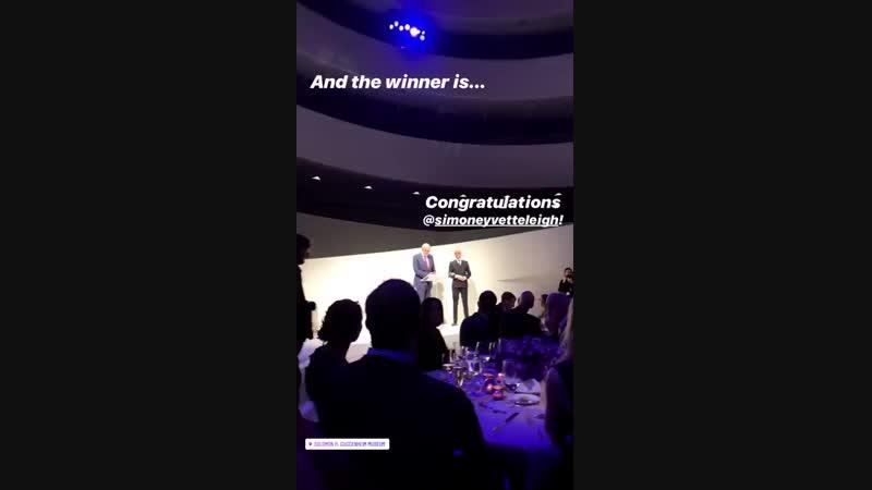 Alexander Skarsgard and Mark Langer (Hugo Boss AG) at the Hugo Boss Prize 2018 Artists Dinner at the Guggenheim in NYC on 10/18/