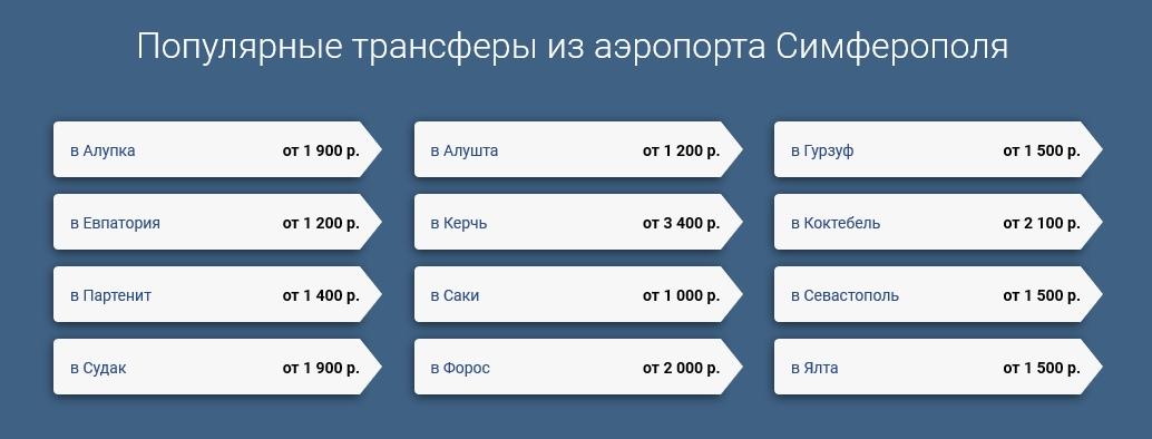 цены на такси в Крыму в 2018 году