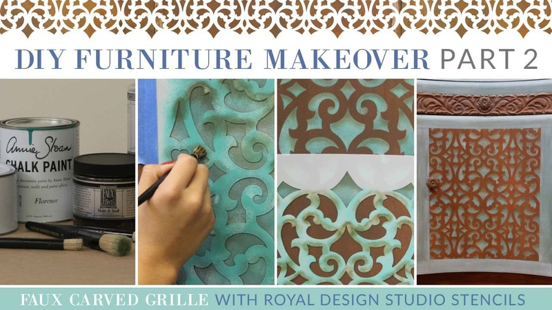 DIY Furniture Makeover Part 2: How To Stencil a Faux Carved Grille Trellis Design
