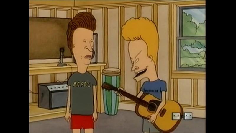Бивис практикуется играть на гитаре