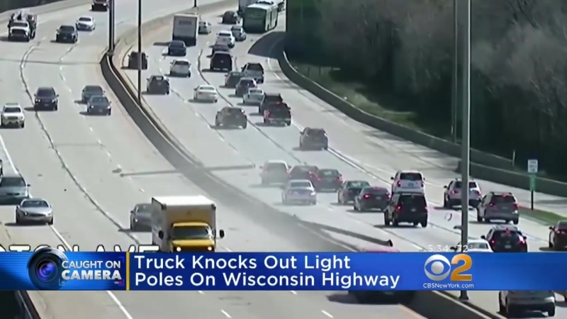 Truck Knocks Out Light Poles On Wisconsin Highway
